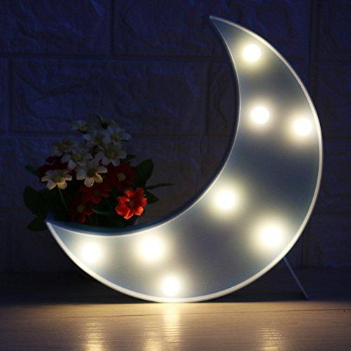 LEDMOMO Mond Tischlampe Süße LED Nachtlichter Halbmond-Form Stimmungslicht für Kinder Schlafzimmer Wohnzimmer Party Hochzeit Weihnachtenn Dekor (Blau)