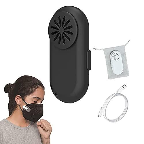 DFDHB Breathe Cooler Wearable Air Purifier for Masks-Ricarica USB Clip Protettiva Riutilizzabile, Clip per Maschera Purificatore d'Aria per Tutti i Tipi di Maschere 16x28x64mm Nero