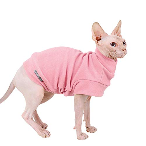 Small Dogs Fleece Dog Sweatshirt - Cold Weather Hoodies Spring Soft Vest Thickening Warm Cat Sweater Puppy Clothes Sweater Winter Sweatshirt Pet Pajamas for Small Dog Cat Puppy (Small, Pink)