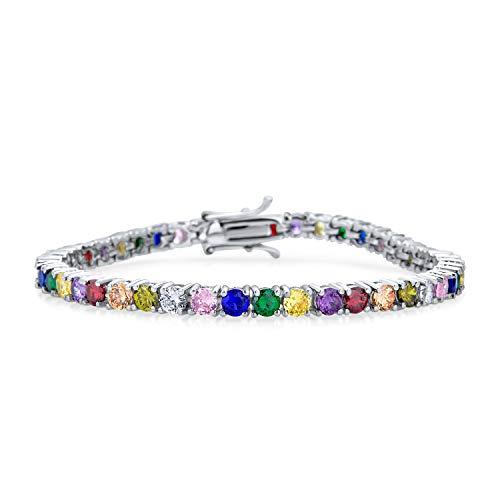 Bling Jewelry 12.00 CT Prong Korb Set Solitär Runde Zirkonia AAA CZ LGBTQ bunten Regenbogen Multi Color Tennis Armband für Frauen Prom Braut Silber vergoldet
