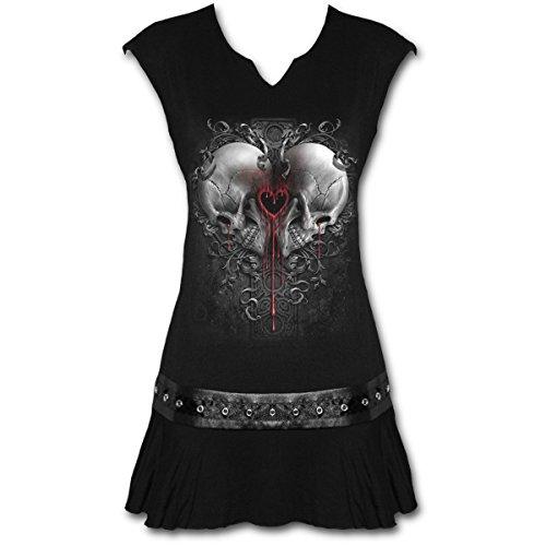 Spiral Direct Love and Death-Stud Waist Mini Dress Black Vestido, Negro 001, 44 (Talla del Fabricante: Large) para Mujer