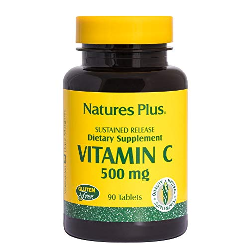 NaturesPlus Vitamin C with Rose Hips, Sustained Relief - 500 mg, 90 Vegetarian Tablets - High Potency Vascular & Immune Support Supplement, Antioxidant - Corn-Free, Gluten-Free - 90 Servings