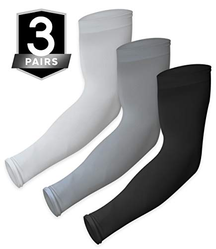 UV Sun Protection Arm Sleeves - Cooling Sports Compression Multipack Athletic Sleeves for Men & Women - UPF 50 Arm Cover/Shield for Basketball, Running, Cycling, Golf, Baseball & Football