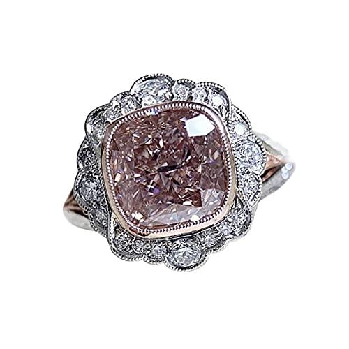 minjiSF Anello quadrato con pietra preziosa per donne e uomini, con temperamento unico, anello nuziale, anello da donna, anello di proposta di matrimonio, anello di diamante (rosa F, 10)