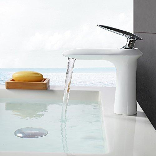 Homelody – Edle Waschtischarmatur, Einhebelarmatur, ohne Ablaufgarnitur, Luftsprudler, Weiß-Chrom - 2