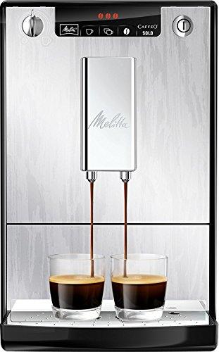 Melitta Caffeo Solo E950-111 Schlanker Kaffeevollautomat mit Vorbrühfunktion | 15 Bar | LED-Display | höhenverstellbarer Kaffeeauslauf | Herausnehmbare Brühgruppe | Organic Silver in Alu-Holz Optik