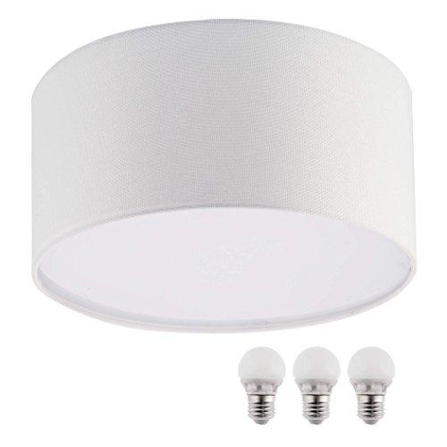 SEBSON Deckenleuchte weiß Textil, inkl. E27 LED Lampe 5W warmweiß, 40cm Durchmesser, Leuchte rund, Deckenlampe