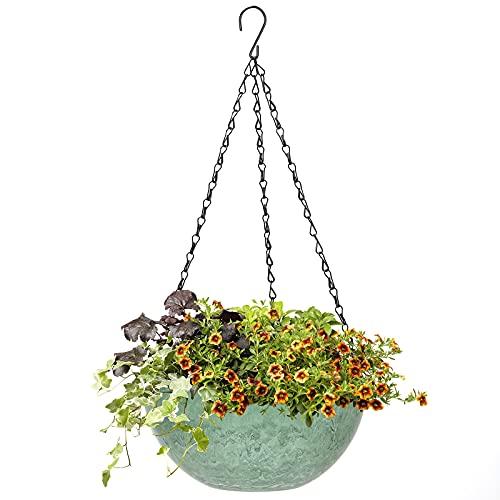 Macetas colgantes para plantas de exterior, con cadena de acero inoxidable, ajustables, con agujero de drenaje, diámetro de 25 cm, para interiores, exteriores, balcones, decoración de pared (verde)