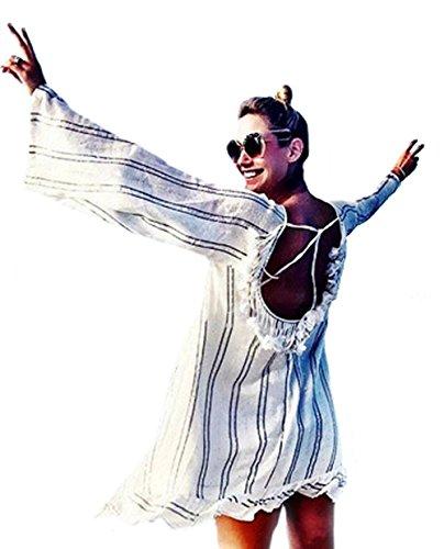 Mashikoo Dames zomer Kaftan gestreepte rug bal strandjurk katoen badpak knielang bikini cover up blouse strandponcho strandponcho strandzonnecrème