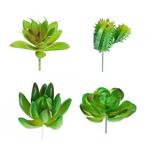 VORCOOL 4 unids artificiales suculentas plantas faux cactus flores para plantas bricolaje decoración de la pared