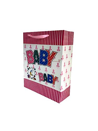Fancy Golden Presents Beautiful Pink Baby Shower Printed Gift Paper Bag (Size- 12 inch x 10 inch x 4 inch) (Pack of 10)