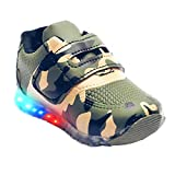 BOOMER CUBS Kids Unisex Military Pattern Synthetic Leather LED Shoes for Boys and Girls (Military Green, 4_Point_5_Years)