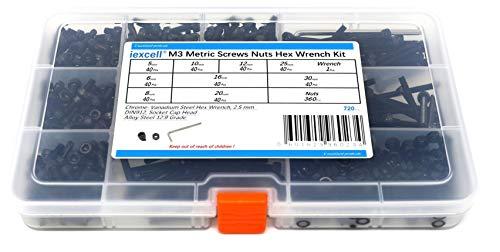 iExcell 720 Pcs M3 12.9 Grade Alloy Steel Hex Socket Head Cap Screws Assortment, Nuts and Hex Key Wrench Kit