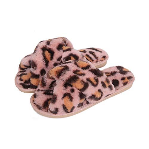 PIANYIHUO Zapatillas de inviernoZapatillas de invierno para mujer, cálidos zapatos de piel sintética, estilo de leopardo, para mujer, zapatillas de piso para interiores, punta abierta, tobog