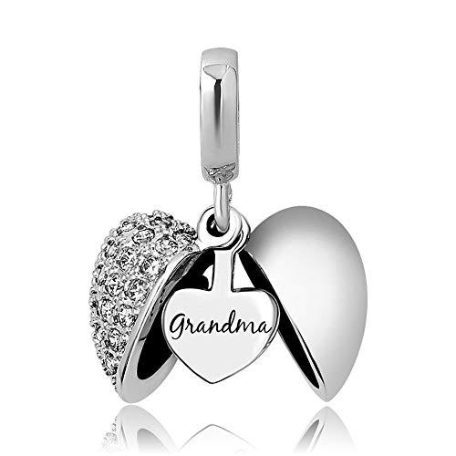KunBead Birthstone Love Birthday Family Heart Grandma Grandmother Nana Dangle Pendant Bead Charms for Bracelets