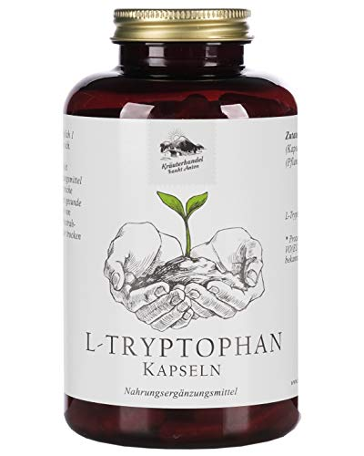 KRÄUTERHANDEL SANKT ANTON® L-Tryptophan Kapseln - Hochdosiert - Vegan, Laktose- und Glutenfrei - Deutsche Premium-Qualität (240 Kapseln) (240)