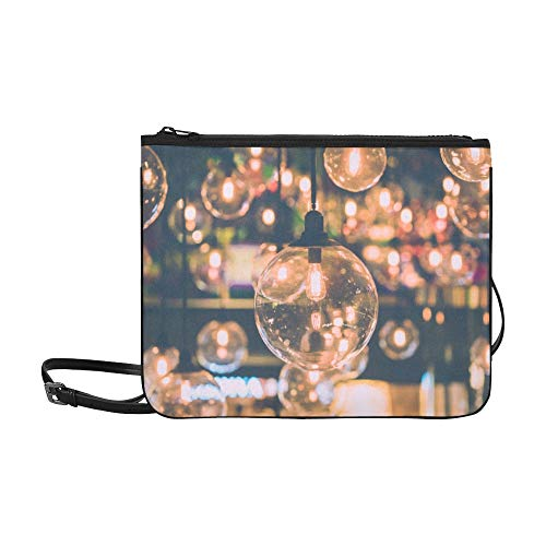 Beautiful Retro Luxury Light Lamp Decor Glowing Pattern Custom High-grade Nylon Slim Clutch Bag Cross-body Bag Shoulder Bag