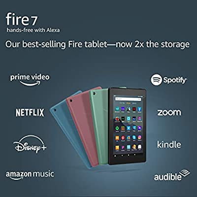 """Fire 7 tablet, 7"""" display, 16 GB, latest model (2019 release), Black by Amazon"""