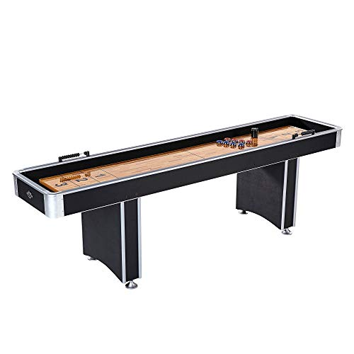 Lancaster 9 Foot Standard Shuffleboard Family Game Table with Pucks and Wax
