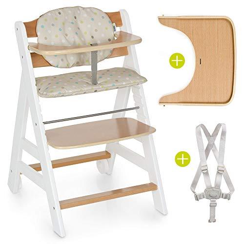 Hauck Hochstuhl Beta Plus - Mitwachsender Holz Treppenhochstuhl mit Essbrett, Schutzbügel, Sitzauflage, Gurt...