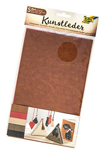 folia 56549 - Kunstleder, Leder, 5 Blatt, ca. 17 x 27 cm, farbig sortiert - ideal zum Basteln und Nähen