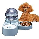 Easy-topbuy Comedero Y Bebedero De Perro Gato Fuente De Agua para Mascotas De Doble Uso Plato De Perro Desmontable Cuenco De Gato, 47x23x16 Cm