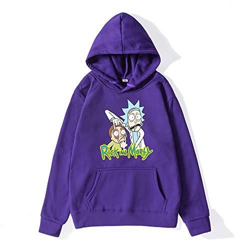 BQSWYD Autum Inverno Hoodies del Mens Hip Hop 3D Streetwear Rick e Morty Cotone Divertente con Cappuccio Casual Tuta Pullover Donne/Tops Moda Uomo Felpa con Cappuccio Felpa con Cappuccio,Viola,S