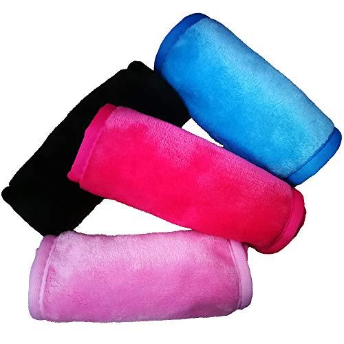 LU2000 - Juego de 4 paños de microfibra para quitar maquillaje sin productos químicos, 4 colores