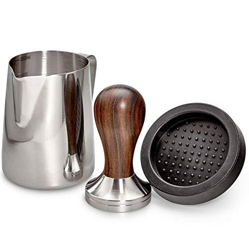 ROASTEIN – Kaffee Tamper 51mm Set – Premium Espresso Tamper – 330ml Milchkännchen & Tampermatte – (Mit Qualitativ Erlesenem Sandelholz)