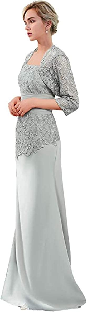 Snow Lotus Vestido largo de la madre de la novia con chaqueta vestido de noche