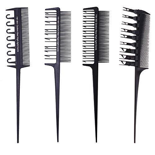 Limeow Haarfärbepinsel Färbekamm Schwarz Strähnenkamm Haarfärbepinsel Kamm Strähnchen Kamm Pinsel Zum Haare Färben Schwarz 4 Stück für Haarfärbung Friseur Salon Friseur Zubehör Strähnenkamm Set