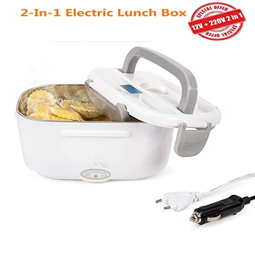 NiLeFo 2 en 1 pour la Voiture et Bureau Lunch Box Électrique - Gamelle Chauffante Acier Inoxidable 12v et 220v - Boîte à Repas 40w avec Cuillère et Deux Compartiments (Gris)