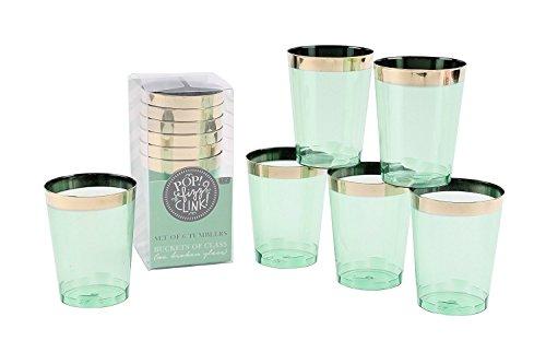 Plastique Vert Lot de 6 verres Hauteur 9.5 cm fête Verres à gin