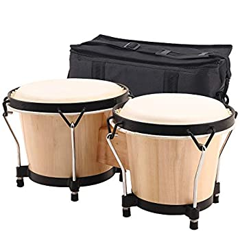 ML.ENJOY Bongo Drums 2 Set 6 and 7 Drum Set Tunable Percussion Instruments Synthetic Metal Frame Construction Bongo Drum for Kids Adults Beginner Travel Bag and Tuning Wrench Natural Finish