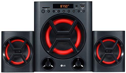 LG XBOOM LK72B - Conjunto de Altavoces 2.1 (40 W, Bluetooth, USB, Ranura Tarjeta SD, Ecualizador, Bass Blast+, Mando a distancia, Montaje en Pared) Color Negro y Rojo