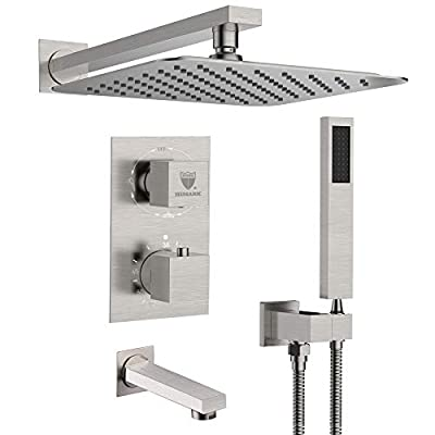 Shower System with Waterfall Tub Spout Shower Faucet Set with 10 Inch Rain Shower Head Wall Mounted Shower Set Brushed Nickle (Contain Rough-in Valve Body and Trim?