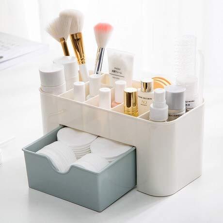 DIPOLA Cosmetic Make Up Organizer Desktop-Aufbewahrung, Schreibtischaufbewahrung für Bürobedarf und Toilettenartikel, Make-up-Aufbewahrungshalter für die Arbeitsplatte der Badezimmerkommode (Blau)