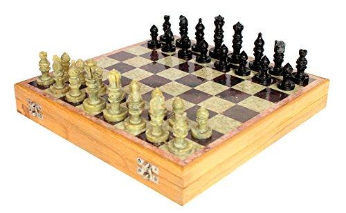 StonKraft 12 'x12 Conjunto de Tablero de Juego de ajedrez de Piedra de Madera + peones Hechos a Mano