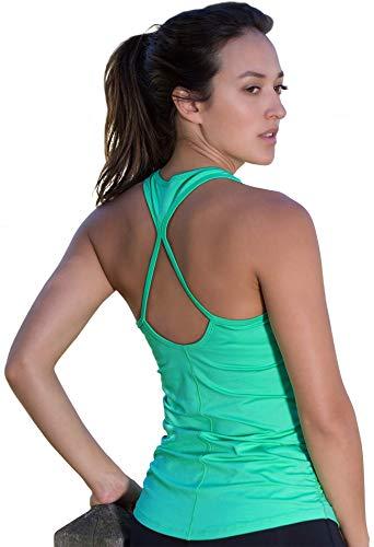 icyzone Damen Sport Yoga Tank Top - Fitness Gym Ärmelloses Shirt Trainings Top (S, Florida Keys)
