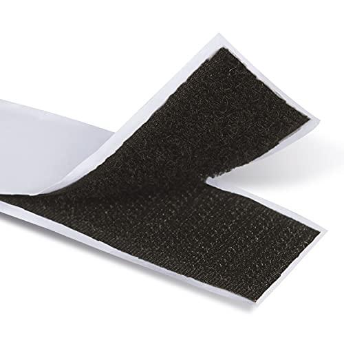 Borman 25M Velcro Adhesivo Fuerte Hook y Loop tape Cinta de Gancho y pelo Gran Adhesivo Cinta rollo doble cara 2,5 cm ancho (Negro)