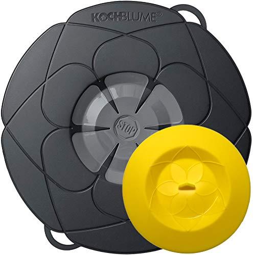 Kochblume vom Erfinder Armin Harecker L 29 cm anthrazit | Überkochschutz für Topfgrößen von Ø 14 bis 24 cm | mit Frischhaltedeckel gratis