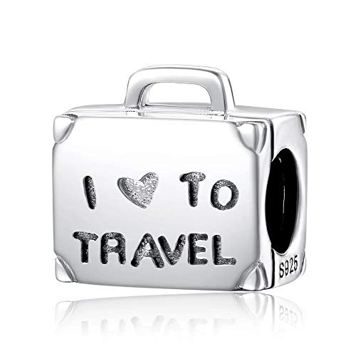 FeatherWish 925 Sterling Silver I Love My Suitcase For Holiday Travel Bead Charm Compatible With Pandora Bracelet