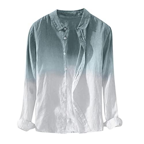 WZHZJ Camisa para hombre Botón de manga larga Retro Casual Ropa para hombre Camisas de lino de algodón para hombre de manga larga Slim Fit (Color : White, Size : L code)