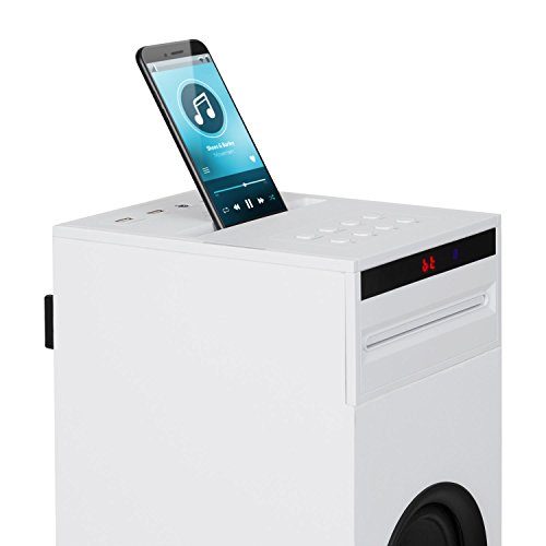 auna Karaboom - Karaoke Anlage, Karaoke Player, Karaoke Set, Turmlautsprecher, integrierter CD-Player, Bassreflex, Bluetooth, 2 x Mikrofon, USB-Port, MP3-fähig, AUX-IN, weiß