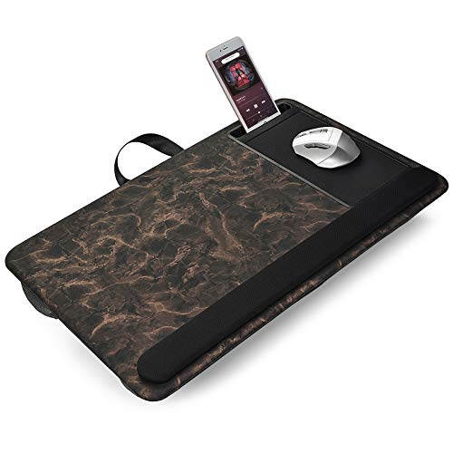 Modazon Laptop Mat for Bed with Phone Holder, Portable Laptop Cushion for Couch with Mouse Pad and Wrist Rest, Laptop Tray Fits up to 17 Inch Laptop Notebook