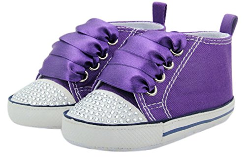 Unique Baby Baby-Girl Canvas Sneaker with Rhinestones (12-18 Months) Purple