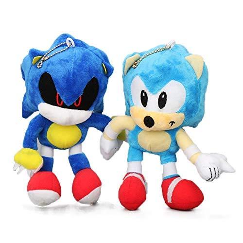 JIAL Plüsch spielzeug2pcs / Satz Sonic The Igel 18 cm 7'Sonic Plüsch Keychain Spielzeug Metall Sonic gefüllte Puppe Super Sonic Shadow Knuckles Tails Puppen Chongxiang