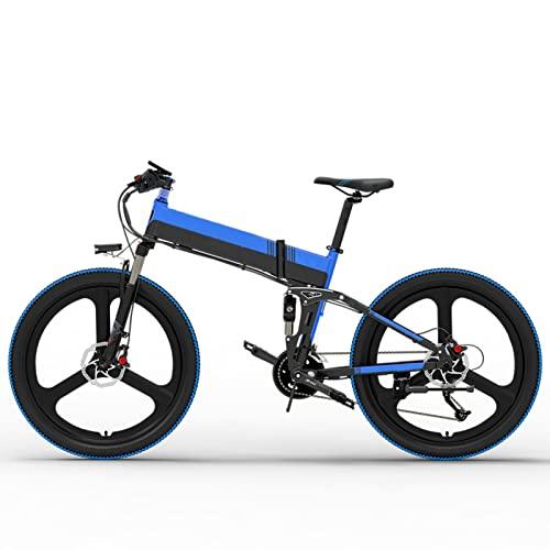 HMEI Bicicleta eléctrica para Adultos Bicicleta eléctrica Plegable de 20MPH 48V 14.5Ah 400W Bicicleta de montaña eléctrica Plegable de 26 Pulgadas (Color : 10.4AH Black Blue, Number of speeds : 27)