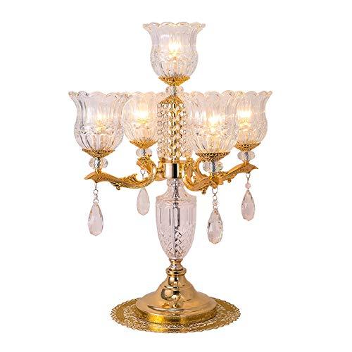 Lámpara de mesa Tabla American Crystal lámpara de la sala de estar dormitorio de noche Lámpara de tabla cristalino transparente Pantalla y colgante decorativo, H 26.4' (oro) Lámpara de Mesita de Noche