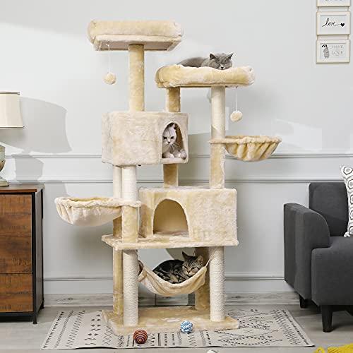 MSmask Stabiler Kratzbaum 153cm, Kratzbaum groß, Katzenbaum für Gross Katzen mit groß Höhle, Sisal-Stämme, Natur Sisal Katzenkratzbaum (Beige)